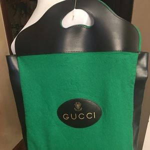 Gucci Vintage '60's Green Felt & Leather Tote